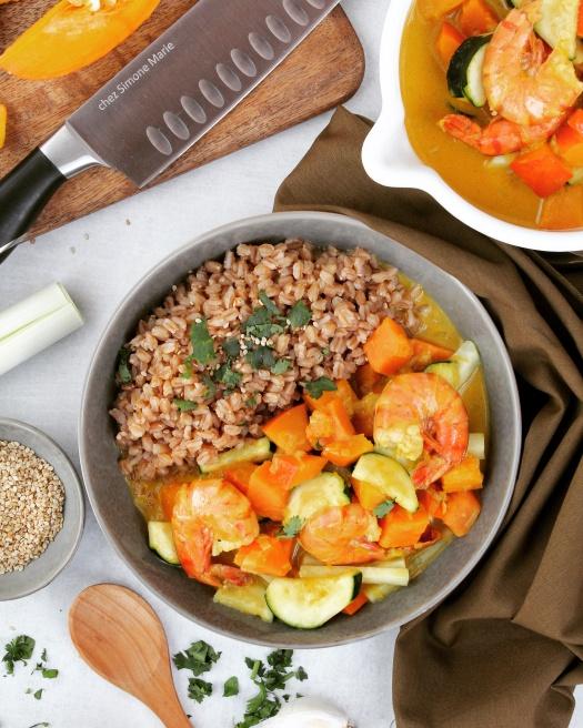 Kürbis Curry mit Garnelen
