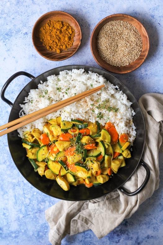 Asia Pfanne mit Huhn und Gemüse