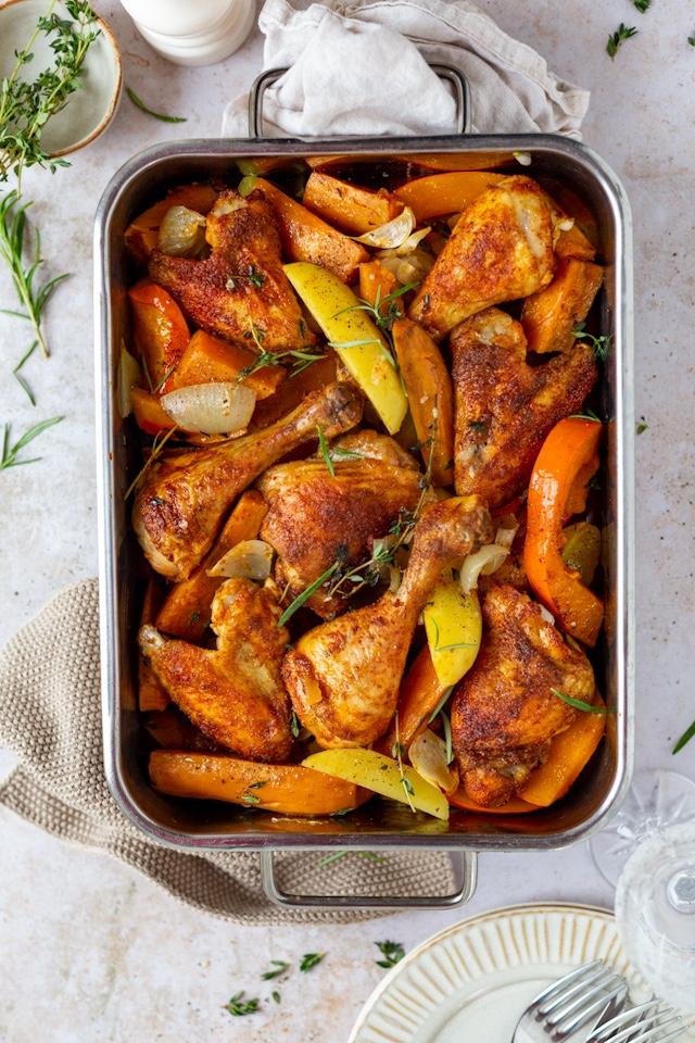 Ofenhuhn mit Gemüse
